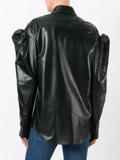 Saint Laurent drop puff sleeve leather shirt