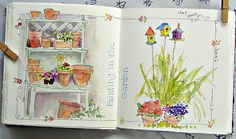 Painting in the Garden A beautiful day to sit in the back yard with a friend and paint, catch up on news, laugh, look through each other's s...