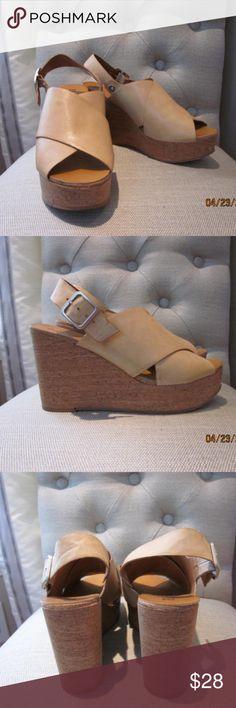 BC Footwear Cougar II Peep Toe Tan Wedge Sandal Womens BC Footwear Cougar II Peep Toe Wedge Slingback Size 10 Worn 1x- immaculate. BC Footwear Shoes Sandals