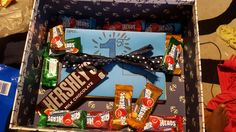 """The inside of my best friends gift box! Candy and a bunch of """"open when..."""" letters. Definitely proud of myself for this one!"""