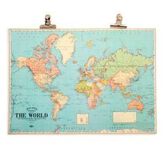 Urban Outfitters Hanging World Map Print Title Boxing, World Map Poster, Pip Studio, Love Blue, Dorm Decorations, Wall Stickers, Paper Art, Poster Prints, Posters
