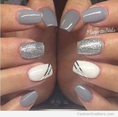 gray nail winter designs with glitter