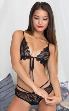 Coming Undone Bralette Set in Black Lace | SHOWPO Fashion Online Shopping