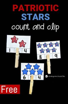 Work on counting sets to 12 this summer with these fun, free, and festive patriotic stars count and clip cards! Plus, they build fine motor skills too! Counting Activities, Preschool Learning Activities, Free Preschool, Preschool Activities, Summer Activities, Preschool Printables, Educational Activities, Teaching Math, Teaching Ideas