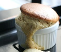 cinnamon and white chocolate soufflé - ohhhh yum!  I think that soufflé looks even more scrumptious all bubbled over and oozing over the top!  This is at the top of my Must Make list!