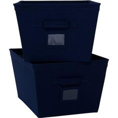 Awesome Navy Storage Bins | ... Mainstays 2 Pack All Purpose Home Storage Canvas  Bins
