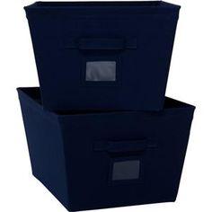navy storage bins | ... Mainstays 2 Pack All Purpose Home Storage Canvas Bins  sc 1 st  Pinterest & 31 best Storage Containers images on Pinterest | Organization ideas ...