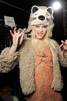 Ginta Lapina Backstage at Anna Sui FW - Runway & Backstage Ginta Lapina, Models Backstage, Animal Hats, Victorias Secret Models, Model Photos, Well Dressed, Celebrity Photos, Knitted Hats, Fashion Beauty