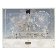 Machine Age Modernist Lucite Kinetic Sculpture w/ Moving Gears // like the material