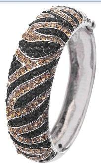Rhinestone Embedded Zebra Print Bracelet