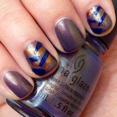 Fishtail nails. China glaze Choo choo choose you. Fall nails.