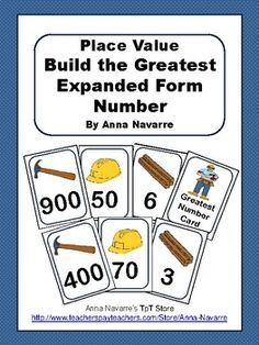 This Build the Greatest Expanded Form Number activity is a fun and easy to play card game. It is a good resource for helping students understand place value. While the focus of the game is to build 3 digit numbers, it can be modified for other types of numbers.