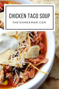 Today I'm sharing a true Tex-Mex recipe with you. This chicken taco soup is a huge favorite at my house and is one of the easiest meals I make.