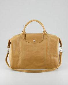 Le Pliage Cuir Large Handbag with Strap, Yellow by Longchamp at Neiman Marcus.