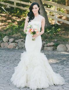 really loving dark hair against a white dress...Glamorous Malibu Wedding: Sarah + Brendon Urie