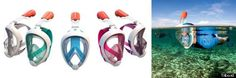 French watersport company Tribord have designed the Easybreath Snorkeling Mask - the first full-faced snorkelling mask. Easybreath Snorkeling Mask, Snorkel Mask, Snorkel Gear, Breathing Underwater, Kayak Accessories, Caribbean Vacations, Sea Fishing, Gadgets And Gizmos, Scuba Diving