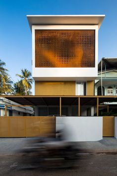 in kerala, india, architecture studio LIJO RENY has completed a house on a narrow plot, characterized by a corten steel surface that provides natural ventilation. Architecture Metal, Residential Architecture, Contemporary Architecture, India Architecture, Contemporary Houses, Minimalist Architecture, Modern Houses, House Design Photos, Modern House Design