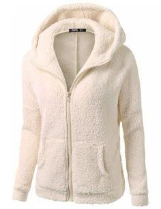 Women's Concise Long Sleeve Hooded Zip Pocket Hoodie Woollen Sweater Coat - Yesfashion.com in Free Shipping