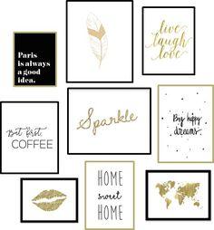 [Free Printables] Des affiches gratuites à imprimer pour changer de déco facilement, voici une nouvelle sélection dans des coloris doré, noir et blanc