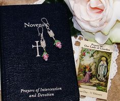 Easter rosary jesus crucifixion crystal rosary set from italy our lady of lourdes rose earrings pierced earrings lampwork rose earrings womans birthday gift easter gift catholic gift negle Choice Image