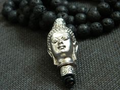 Quality 10mm natural lava rock beads are used in making the necklace; the large antique silver buddha head is the focus point of the necklace. A simple chunky long buddha beaded necklace that will create a Statement! | eBay!