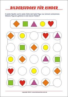 Pictures Sudoku for children! Free Sudokus for preschool and grade - great training for logical thinking. Easy to print . Shapes For Kids, Math For Kids, Puzzles For Kids, Opposites Worksheet, Face Painting For Boys, Printable Shapes, Sudoku Puzzles, English Worksheets For Kids, English Writing Skills