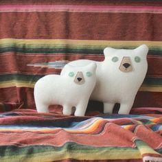 the Cub Pendleton wool plush bear pillow by ThreeBadSeeds on Etsy