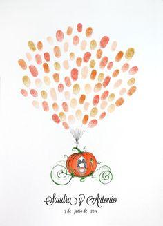Lámina para huellas calabaza carroza #invitaciones de boda #detalles de boda: