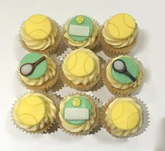 9 x edible icing Tennis themed cupcake toppers  by ACupfulofCake on Etsy £16.50