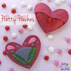 Have a heart! Or two, or three or four. :-) The 2015 Valentine's Day Collection contains patterns for four pretty felt hearts – and four easy projects you can make with them. The pattern has links to videos teaching you all the skills youll need. If you can thread a needle, you can make these! Each heart is about 5 inches across and the projects show how to make them into sachets, coasters, pouches, and mug rugs. Here's what you'll need. . . 5 sheets of wool felt (I'm using ...