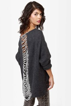 Awesome Slashed Grey Sweater - Knit Sweater - Grunge Sweater - $60.00 need it