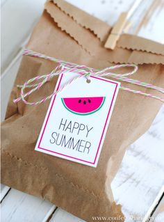 DIY your Christmas gifts this year with GLAMULET. they are compatible with Pandora bracelets. Happy Summer Favor Bags and Free Printable Summer Gift Tags Watermelon Birthday Parties, Summer Birthday, Teacher Gift Tags, Teacher Appreciation Gifts, Batman Party, Summer Gifts, Happy Summer, Free Summer, Summer Time