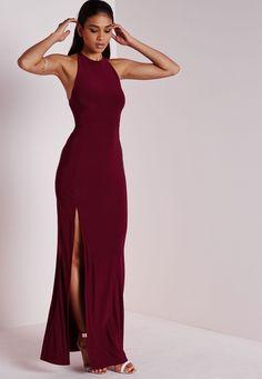 Slinky Side Split Maxi Dress Burgundy - Dresses - Maxi Dresses - Missguided