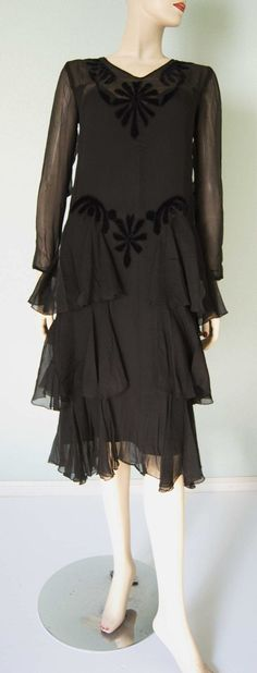 1920s Black Silk Georgette Flapper Dress with Panniers and Appliques - Totally Twenties by brookeO