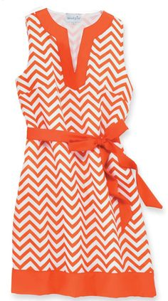 Orange and White Chevron Print Sleeveless GameDay Dress-can't wait to wear to Knoxville!