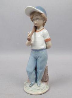 Vintage-Lladro-Can-I-Play-Porcelain-Baseball-Figurine-7610-w-Box-Retired