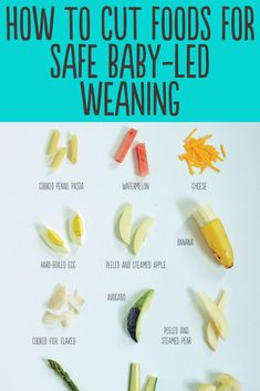 How to cut foods for safe baby-led weaning. See the best shapes and sizes for ba. - Babybrei und Beikost: Rezepte und Tipps - How to cut foods for safe baby-led weaning. See the best shapes and sizes for baby-led weaning firs - Baby Led Weaning First Foods, Baby First Foods, Baby Finger Foods, Baby Lef Weaning, Baby Led Weaning Recipes 6 Months, Baby Led Weaning Breakfast, Baby Led Weaning Cookbook, Baby Breakfast, Fingerfood Baby