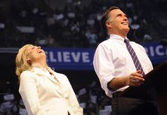 Election Affection! Candidates Make Final Push With Their Leading Ladies: Mitt and Ann shared a good laugh on stage.