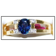 http://rubies.work/0165-ruby-rings/ 18K Yellow Gold Diamond Genuine Solitaire Blue Sapphire Ring