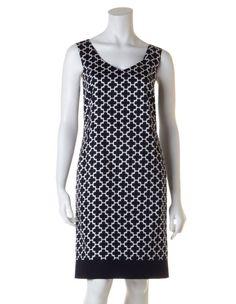 Navy Tile Print Sheath Dress, Navy/White