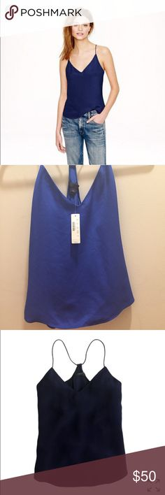 J. Crew Carrie Cami blue, 100% silk , 00 NWT 100% silk, brand new! Love this cami, a blogger favorite and a classy staple to any wardrobe. I already have several in other colors and need to let this one go. The color is more of a royal blue (not navy), which I think is a discontinued color because I can't find it anywhere online. Tops Camisoles
