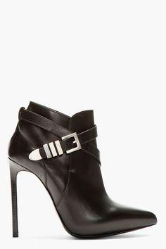 SAINT LAURENT Black leather Paris ankle boots