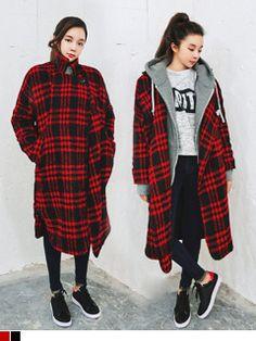Yubsshop Long Woolen Check Coat