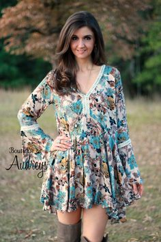 Umgee Blue and Mustard Color Floral Print Dress with V-Neck and Bell Sleeves