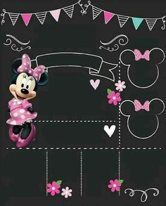 Best Ideas Baby First Birthday Board Minnie Mouse Birthday Invitations, Minnie Mouse 1st Birthday, Disney Birthday, Mickey Minnie Mouse, First Birthday Board, First Birthday Posters, 1st Birthday Chalkboard, Hello Kitty Birthday, First Birthdays