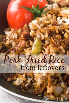 Have leftover rice? What about making fried rice? This recipe is for pork fried … Have leftover rice? What about making fried rice? This recipe is for pork fried rice, but use whatever meat you have leftover to make a whole new meal! Leftover Pork Loin Recipes, Leftover Pork Chops, Pork Roast Recipes, Pork Tenderloin Recipes, Easy Chicken Recipes, Tilapia Recipes, Leftover Rice Recipes, Leftover Pork Fried Rice Recipe, Pork Fried Rice Easy