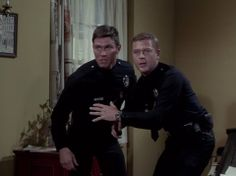 """Pete and Jim going up against an ex-wrestler . """"You go high, I'll go low. 70s Tv Shows, Movies And Tv Shows, Classic Tv, Classic Movies, Martin Milner, Randolph Mantooth, Adam 12, Hot Cops, Old Tv"""