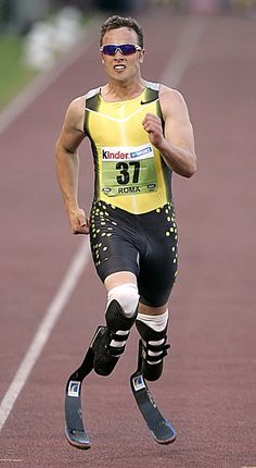 Oscar Pistorius wearing carbon fibre prosthetic limbs. It was alway rumoured that the bounce and flex gave him an advantage over able bodied runners and he did compete in the main Olympics in a sprint relay. Just imagine the weight going on to these as he ran.