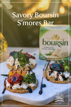 This summer, try our elevated savory s'mores bar featuring Boursin. Roast a medley of seasonal veggies over the campfire (cherry tomatoes, mini sweet peppers, broccoli, yellow squash & more) and then build your own savory s'more with the entire Boursin collection, specialty mustards, cured meats, and whatever inspires you. Get more recipe ideas at boursin.com. #glampboursin Mini Sweet Peppers, Stuffed Sweet Peppers, Roasted Vegetables, Veggies, Campfire Desserts, Boursin Cheese, S'mores Bar, Vegetable Seasoning, Food Names