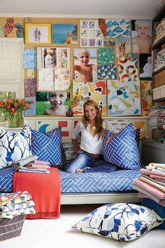 Lulu deKwiatkowski (of LULU DK) surrounded by Eden's plantation fabric in royal blue #patterns